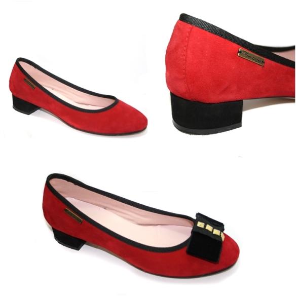 Ferrutxitas zapatos tacón bajo ancho rojos